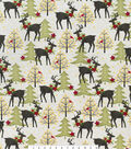 Snuggle Flannel Fabric -Holiday Stag with Poinsettia