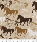 Snuggle Flannel Fabric -Running Horses on Tan