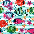Snuggle Flannel Fabric -Watercolor Tropical Fish