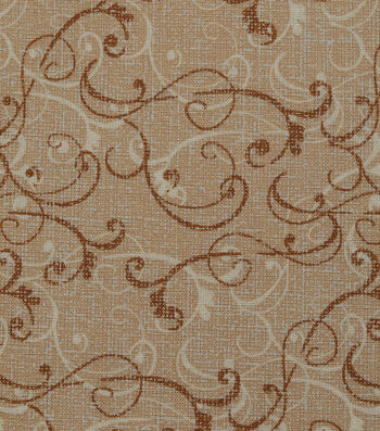 "Harvest Cotton Fabric 44""-Linen Scrolls on Cream"
