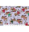 Christmas Fleece Fabric-Christmas Moose Flannel