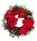 Blooming Holiday Christmas 26\u0027\u0027 Amaryllis, Poinsettia & Berry Wreath