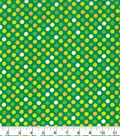 St. Patrick\u0027s Day Cotton Fabric-Glitter Dots on Green