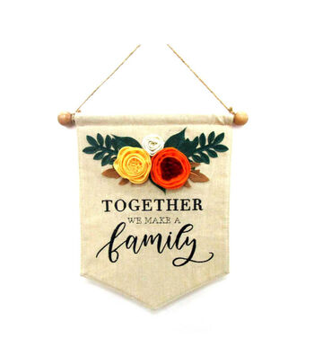 Simply Autumn Linen Banner-Together We Make a Family