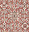 Vintage Cotton Fabric 43\u0027\u0027-Floral Medallion on Orange