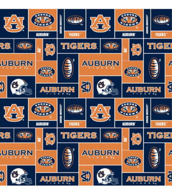 Auburn University Tigers Fleece Fabric -Block