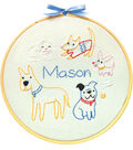 Penguin & Fish Embroidery Kit 7\u0022 Round Stitched in Floss-Puppies