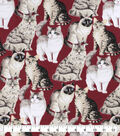 Snuggle Flannel Fabric-Realistic Cats On Red
