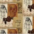 Halloween Cotton Fabric-Creepy Sketches on Orange