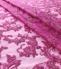 Quinceanera Floral Scroll On Mesh Fabric-Deep Orchid