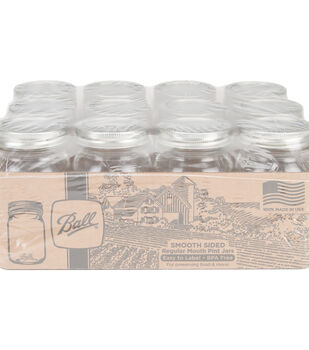 Ball 12 pk Pint Smooth Sided Regular Mouth Glass Canning Jars