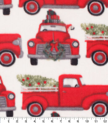 Anti-Pill Plush Fleece Fabric-Dog In Truck Holiday