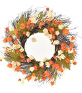 Blooming Autumn Lantern, Twig, Leaves & Berries Wreath-Orange