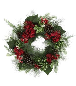 Handmade Holiday Christmas Pine, Pinecone, Red Hydrangea & Berry Wreath