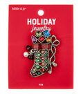 hildie & jo Christmas Holiday Jewelry Stocking Pin-Multi Gemstones