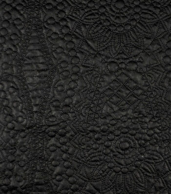 Downtown Collective Quilted Pleather Fabric-Black Boho