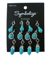 hildie & jo Symbolize 12 pk Multi Silver Charms-Turquoise Beads, , hi-res