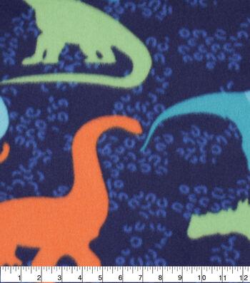 Blizzard Fleece Fabric-Dinosaurs on Blue