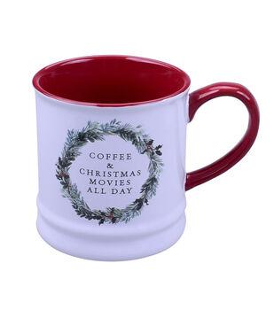 Handmade Holiday 16 oz. Stoneware Mug-Coffee & Christmas Movies All Day