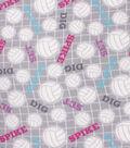 Blizzard Fleece Fabric-Volleyball Words