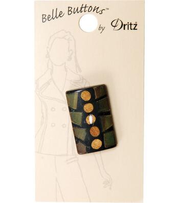 Dritz 30mm Belle Button Natural Rectangle Black Green