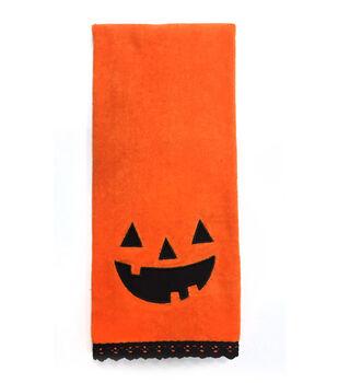 Maker's Halloween 16''x28'' Towel-Jack-o'-lantern Face