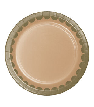 8ct Large Paper Plate-Kraft Gold