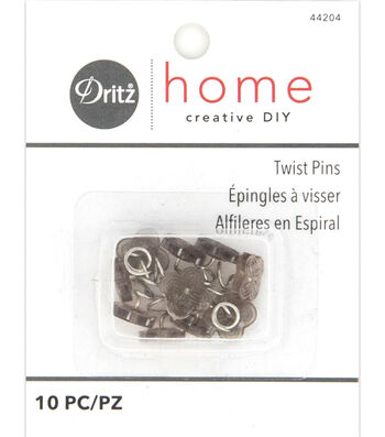 Dritz Home Upholstery Twist Pins Decorative Head Smoke Tint 10pcs