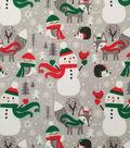 Doodles Christmas Interlock Cotton Fabric 57\u0022-Holiday Animals