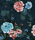 Sportswear Apparel Stretch Twill Fabric 57\u0027\u0027-Blooms on Dark Teal