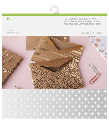 Cricut 12 Pack 12''x12'' Deluxe Foil Embossed Papers-Silver & White