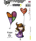 Carabelle Studio La Rafistolerie Cling Stamps-Little Girl with Balloon