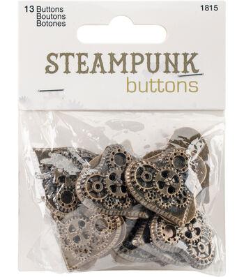 Steampunk 13 pk Heart Buttons-Antique Gold