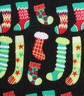 Christmas Cotton Fabric 43\u0027\u0027-Stockings on Black
