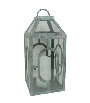 Hudson 43 Candle & Light Collection Grey Distressed W Led Lg