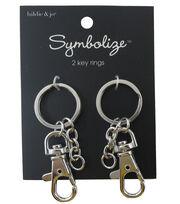 hildie & jo Symbolize 2 Pack Silver Key Rings, , hi-res
