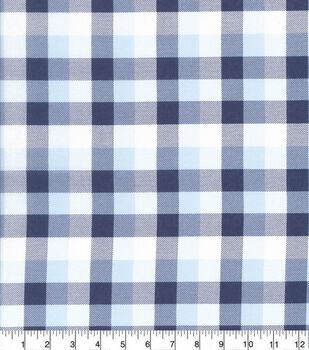 Keepsake Calico Cotton Fabric-Multi Large Check Navy Gray