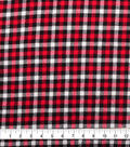 Plaiditudes Brushed Cotton Fabric-Red, Black & White Checked