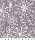 Anti-Pill Plush Fleece Fabric-Snowflakes On Gray Holiday