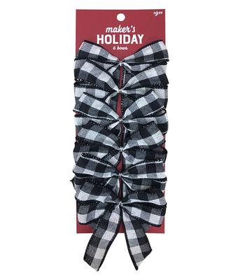 Maker's Holiday Christmas 6 pk Bows-Black & White Checks