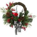 Handmade Holiday Pinecone, Berry, Cardinal & Buffalo Check Bow Wreath