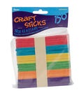 Wood Craft Sticks-Assorted Colors-4.5\u0022 150/Pkg