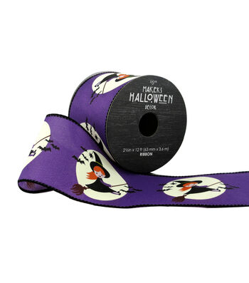 Maker's Halloween Ribbon 2.5''x12'-Cute Witches on Purple