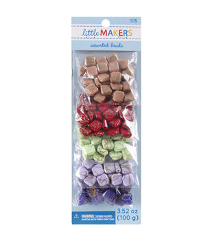 Little Makers 3.52 oz. Square Beads-Gold Glaze on Multi