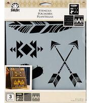FolkArt 8X9'' 3Pc Stencil Pack-Wild Free, , hi-res