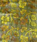 Textured Cotton Batik Apparel Fabric-Gold Leaf on Green