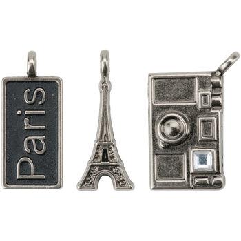 "Paris Metal Charms 1""X.5"" To 1""X.75"" 3/Pkg-Paris Tag/Eiffel Tower/Camera"
