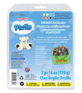 Sculpey Pluffy 8oz. Variety Pack Clay-Primary