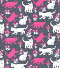 Luxe Flannel Fabric -Cats Gray Heather