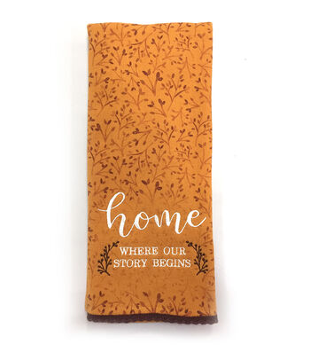 Simply Autumn 16''x28'' Towel-Home Where our Story Begins on Orange